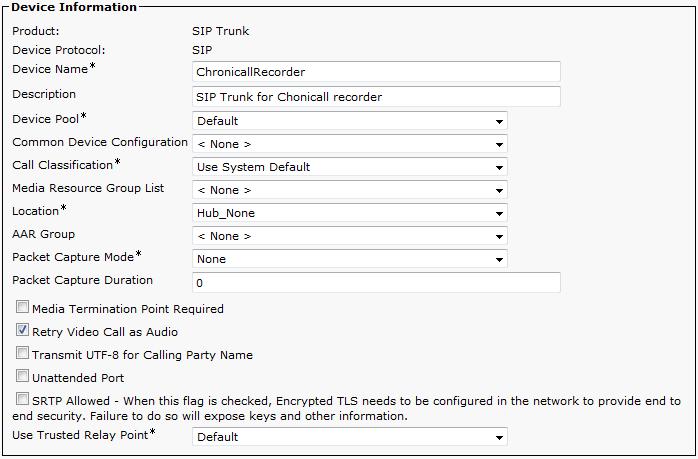 Cisco UCM Central Recording Configuration - Manual Setup (Advanced