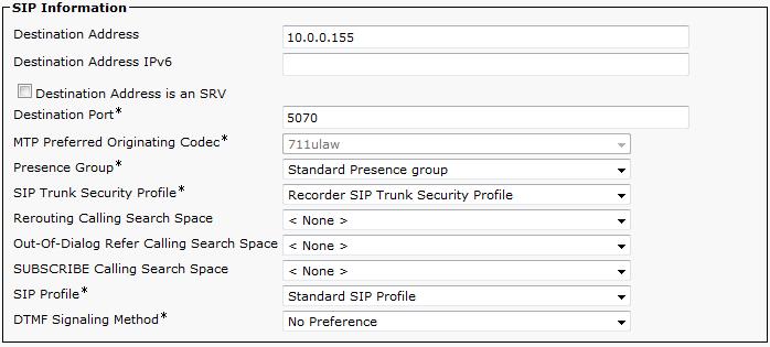 Cisco UCM Central Recording Configuration - Manual Setup